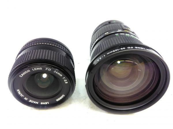 R1002-69/SA5000 フィルムカメラ Canon キャノン A-1 レンズ FD 24mm 1:2.8 35-105mm 1:3.5 スピードライト 177A ケース 説明書付_画像5
