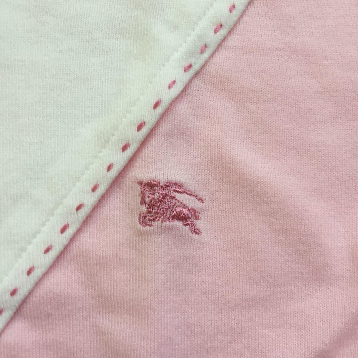 未使用 未着 BURBERRY LONDON バーバリー 綿100 ホース刺繍付き 可愛い長袖Tシャツ サイズ160A オフ白×ピンク 日本製 三陽商会_画像3