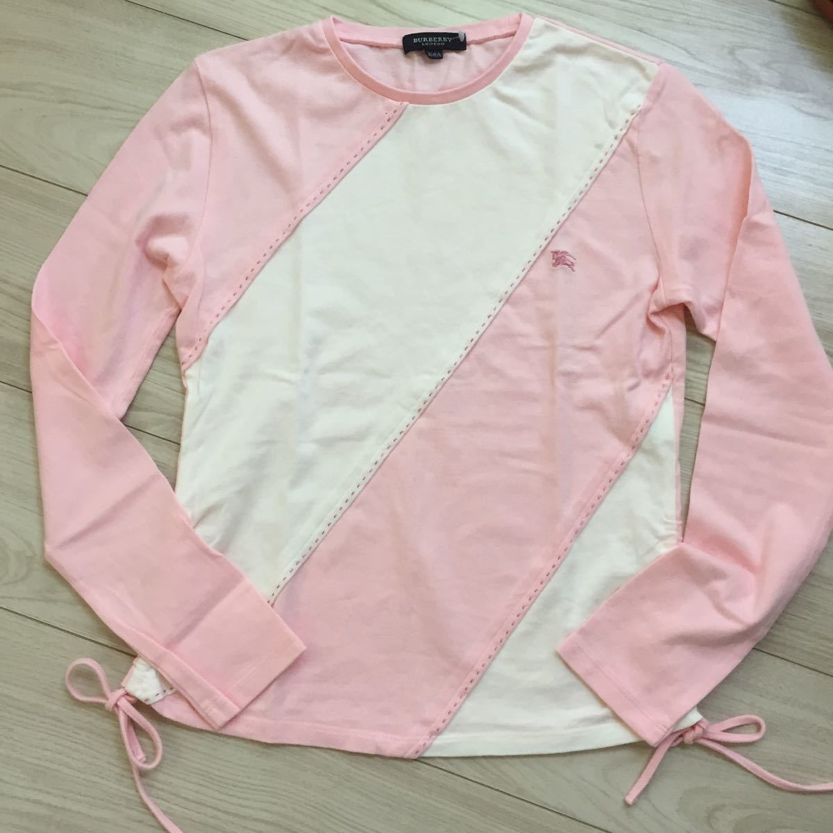 未使用 未着 BURBERRY LONDON バーバリー 綿100 ホース刺繍付き 可愛い長袖Tシャツ サイズ160A オフ白×ピンク 日本製 三陽商会_画像1