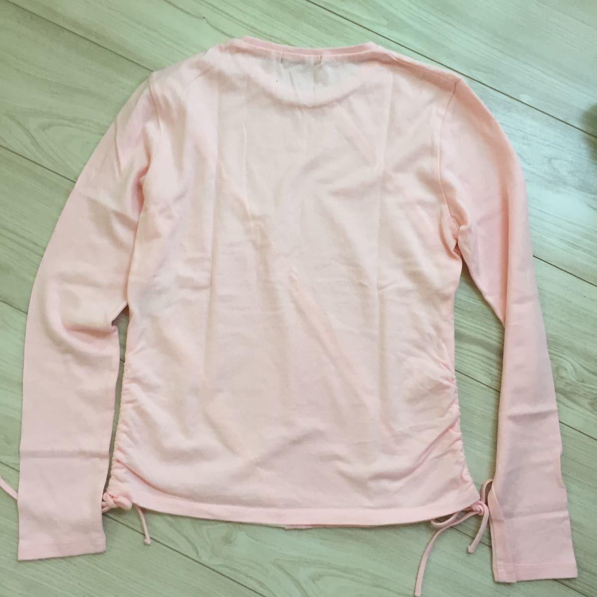 未使用 未着 BURBERRY LONDON バーバリー 綿100 ホース刺繍付き 可愛い長袖Tシャツ サイズ160A オフ白×ピンク 日本製 三陽商会_画像6
