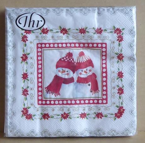 ペーパーナプキン☆LOVELY LITTLE FELLOWS 雪だるま マフラー 帽子 デコパージュ クリスマス_画像1