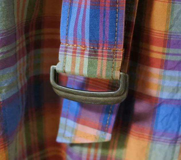 MACPHEE マカフィー ロングブラウス ブラウス 38サイズ 長袖 チェック柄 オレンジ系 ベルト付き otkyuk k hg0929_画像5