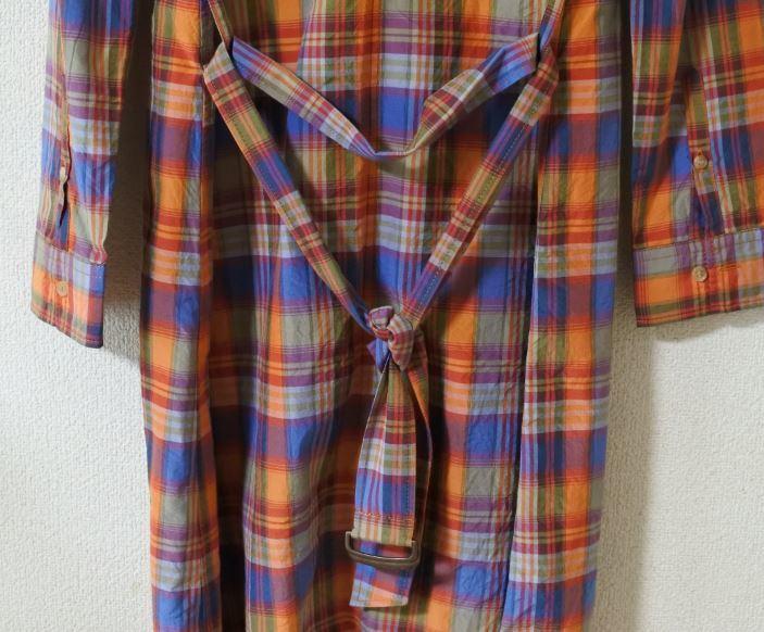 MACPHEE マカフィー ロングブラウス ブラウス 38サイズ 長袖 チェック柄 オレンジ系 ベルト付き otkyuk k hg0929_画像4