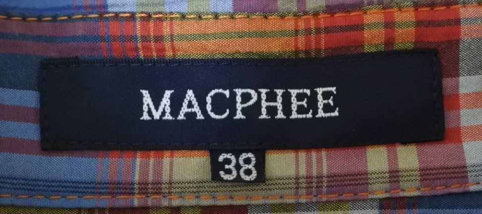 MACPHEE マカフィー ロングブラウス ブラウス 38サイズ 長袖 チェック柄 オレンジ系 ベルト付き otkyuk k hg0929_画像6