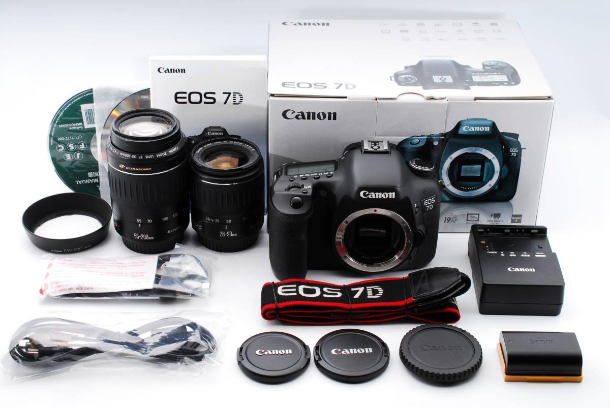 ★極上級★Canon キヤノン EOS 7D 28-200mm ダブルレンズセット 元箱、付属品充実★97