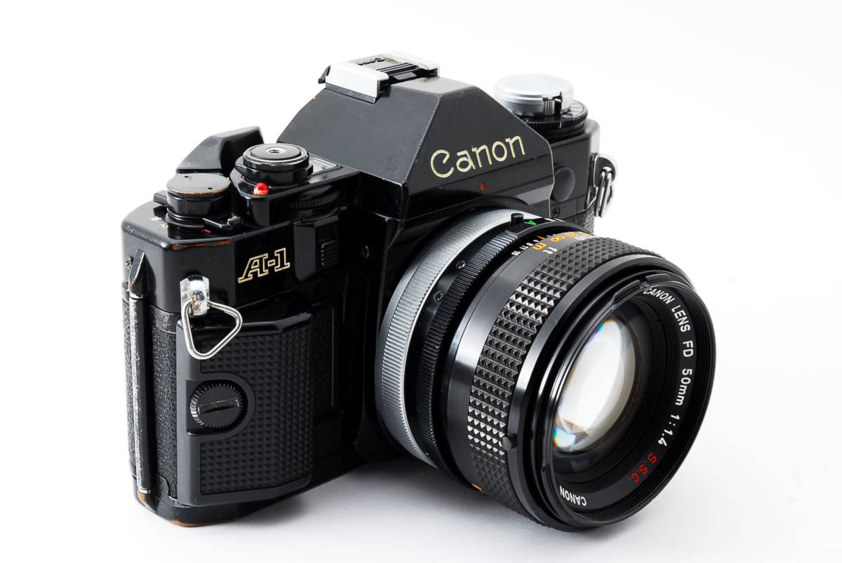 Canon A-1 50mm F1.4 S.S.C. FD キャノン A1 ブラック 一眼レフ フィルム カメラ_画像3