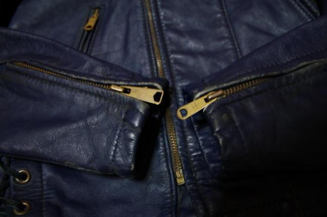 希少 濃紺 70s ビンテージ UK ロンジャン レザー ライダース ジャケット■ 40s 50s ルイスレザー Schott vanson モーターサイクル ラロッカ_右袖ZIP交換あり。