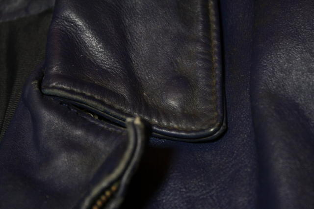 希少 濃紺 70s ビンテージ UK ロンジャン レザー ライダース ジャケット■ 40s 50s ルイスレザー Schott vanson モーターサイクル ラロッカ_画像9