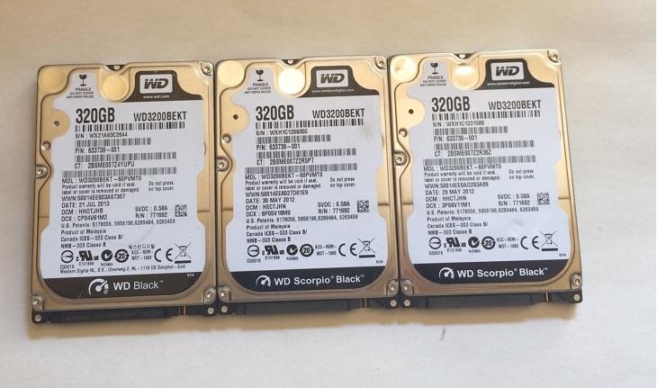 3個セット 正常 WD 320GB HDD 2.5インチ 7200rpm 9.5mm SATA  送185円 #1