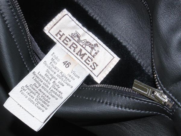 新品 HERMES 定価350万超 完売14FW 究極シェアードミンク毛皮Wフェイスレザーブルゾン メンズ46 ジャケット コート 収納バッグ付 本物 正規_画像9