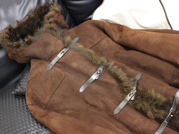 新品同 エルメス HERMES 究極のケリーコレクション最高級仔羊毛皮カーリーラムムートンコート ジャケット ブルゾン 収納バッグ付 本物 正規_画像3
