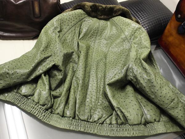 極上品 世界最高峰 ジリ 脱着ファー毛皮襟フルオーストリッチレザーブルゾン 最高級ZILLIシルク裏地 メンズ50 ジャケット コート 本物 正規_画像5