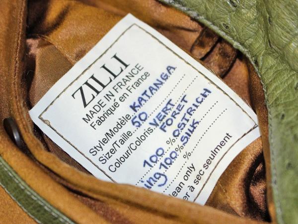 極上品 世界最高峰 ジリ 脱着ファー毛皮襟フルオーストリッチレザーブルゾン 最高級ZILLIシルク裏地 メンズ50 ジャケット コート 本物 正規_画像10