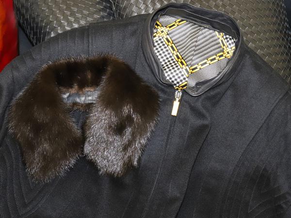 極上品 ジリ 最高級ZILLIシルク裏地 脱着ミンク毛皮ピュアカシミヤ100%ブルゾン PORSCHE 黒 ブラック 紳士服 ジャケット コート 本物 正規_画像3