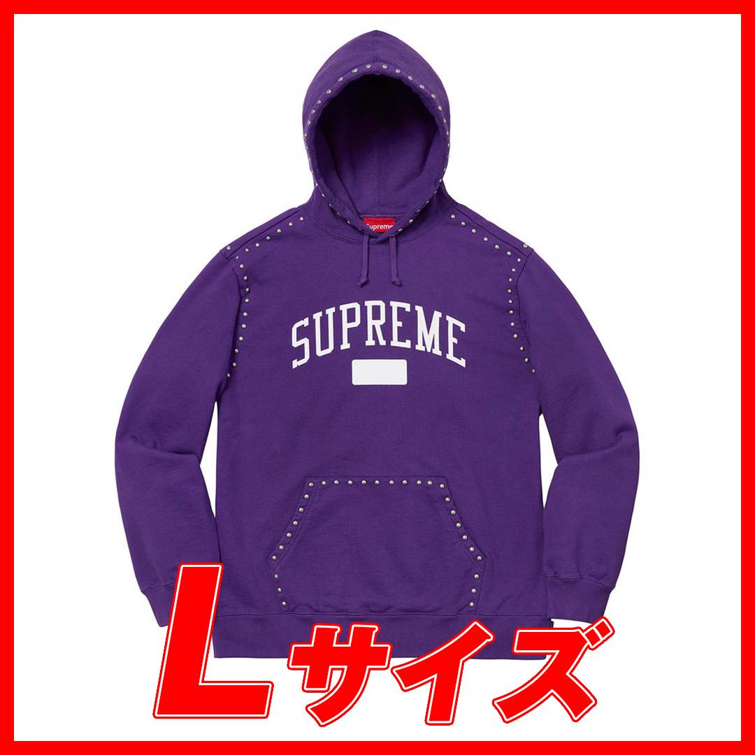395 Supreme/Studded Hooded Sweatshirt Puple Lsize シュプリーム/ スタッズ パーカー 紫 Lサイズ_画像1