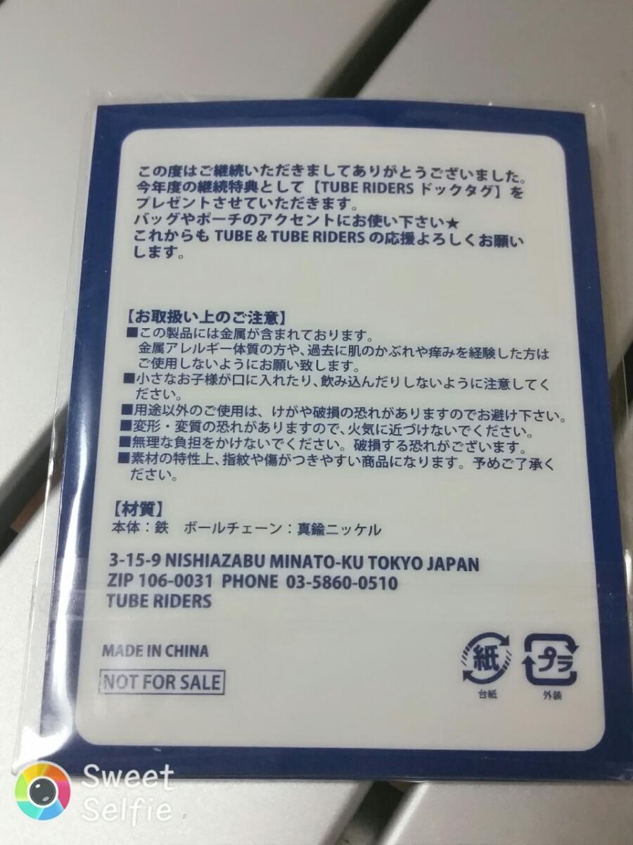 《送料120円》チューブ TUBE RIDERS 継続特典 ドックタグ 非売品_画像2