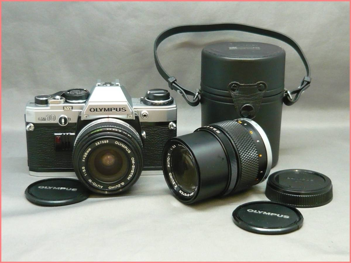 【ジャンク】OLYMPUS オリンパス OM10 /OM-SYSTEM F.ZUIKO AUTO-W 28mm F3.5/AUTO-T 135mm F3.5 セット