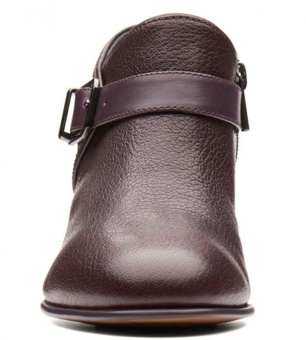 Clarks 22.5cm ブーツ AUBERGINE なす パープル レザー 革 ジッパー ブーティー チェルシー アンクル スニーカー パンプス フォーマル AA80_画像6