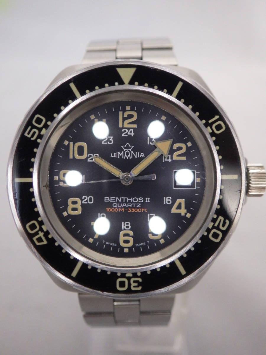 稀有LEMANIA LemaniaBENTHOSⅡ1000米QUARTZ潛水員正品樂隊電池更換 編號:m287340571