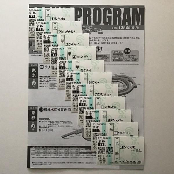 京都大賞典 現地購入 全11頭単勝馬券 当日レープロ セット