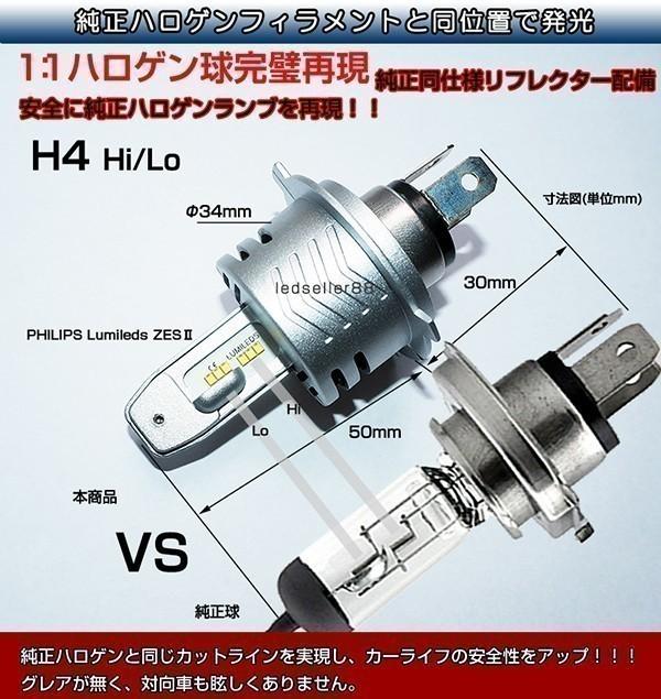 ◆ハイエースKDH/TRH 200系100系 ランクル ワンタッチ取付 PHILIPS ZES LEDヘッドライト ミニ H4バルブ Hi/Lo 16000LM 車検対応_画像2