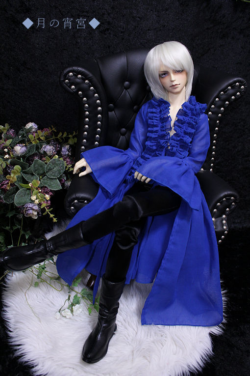 ◆月の宵宮◆SD17B◆綿シフォンロングブリルブラウス(レイクブルー)&黒スパッツ◆