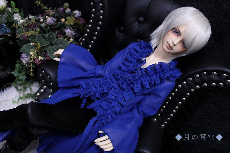 ◆月の宵宮◆SD17B◆綿シフォンロングブリルブラウス(レイクブルー)&黒スパッツ◆_画像3