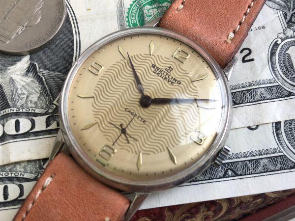 【ジャンク扱い】BREITLING ブライトリング ヴィンテージ 手巻き 腕時計 アンティーク ゴールド文字盤 訳あり