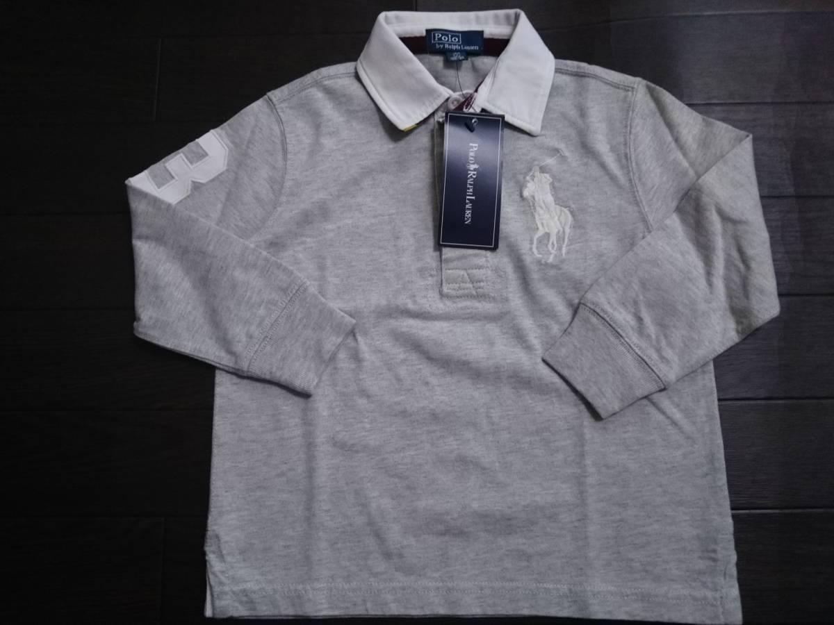 値下 新品 ラルフローレン Ralph Lauren ビッグポニー 長袖ポロシャツ 長T ロングT ラガーシャツ タグ付 3T 100