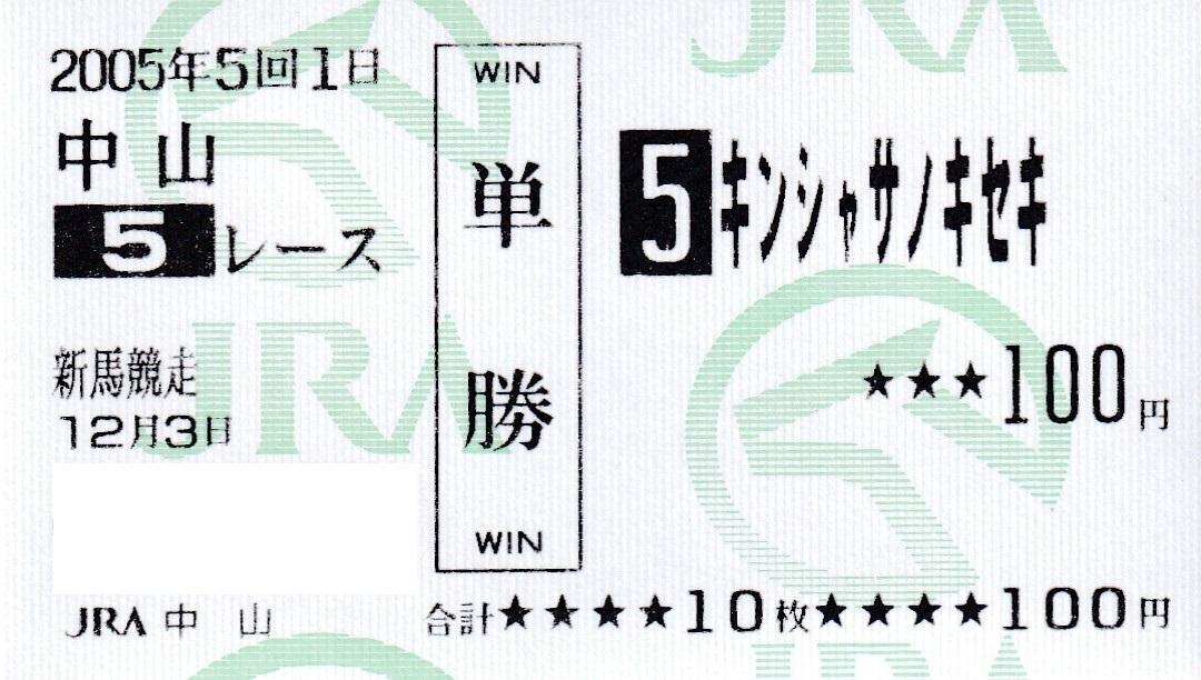 キンシャサノキセキ 新馬戦 現地的中単勝馬券 メイクデビュー 2種類セット_画像2