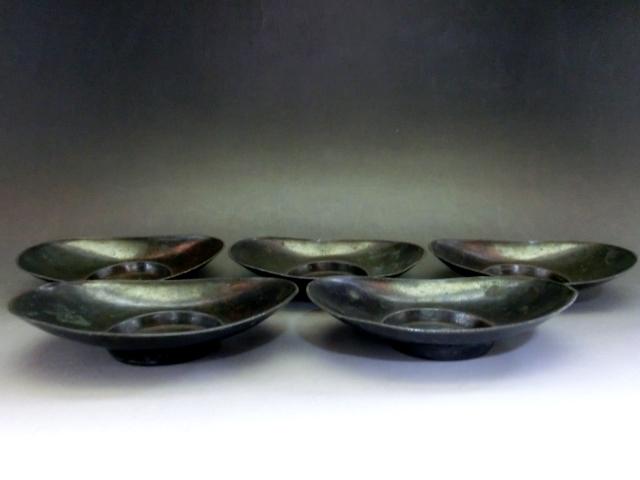 茶托■小判型茶たく 5客 黒銅 煎茶器 湯呑皿 お茶道具 古玩 唐物 中国 古美術 時代物 骨董品■ _画像5
