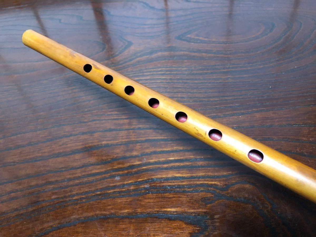 横笛 篠笛 囃子用7孔 3本調子 天賦流笛師 朗童作 蔵出し品 I0928_画像3