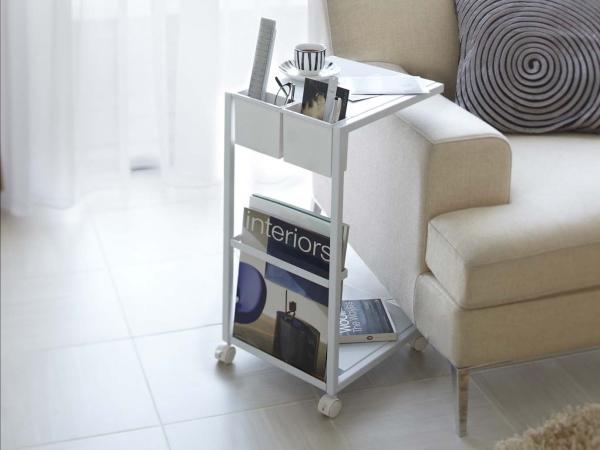 キャスター付き サイドテーブル(ホワイト)ソファテーブル ワゴン リモコン収納 マガジンラックテーブル ベッドサイド カフェ スチール 白_画像1