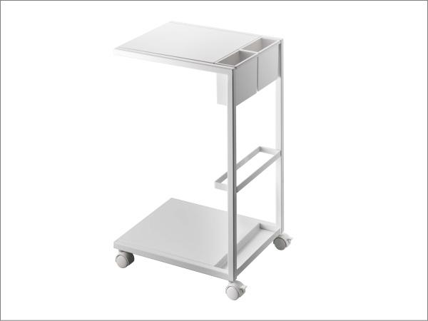 キャスター付き サイドテーブル(ホワイト)ソファテーブル ワゴン リモコン収納 マガジンラックテーブル ベッドサイド カフェ スチール 白_画像5