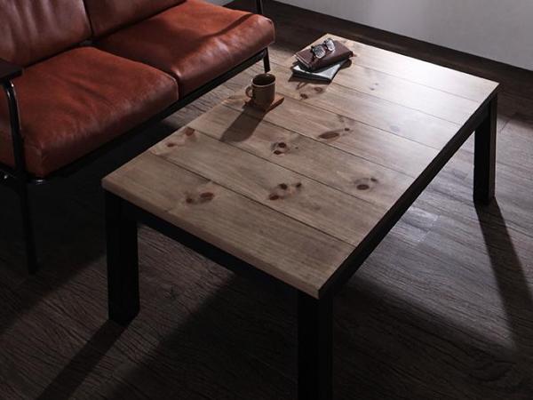 120×80cm 天然木 ビンテージデザイン こたつ 継ぎ脚付き 西海岸 ブルックリン コタツ センターテーブル ソファテーブル おしゃれ_画像2