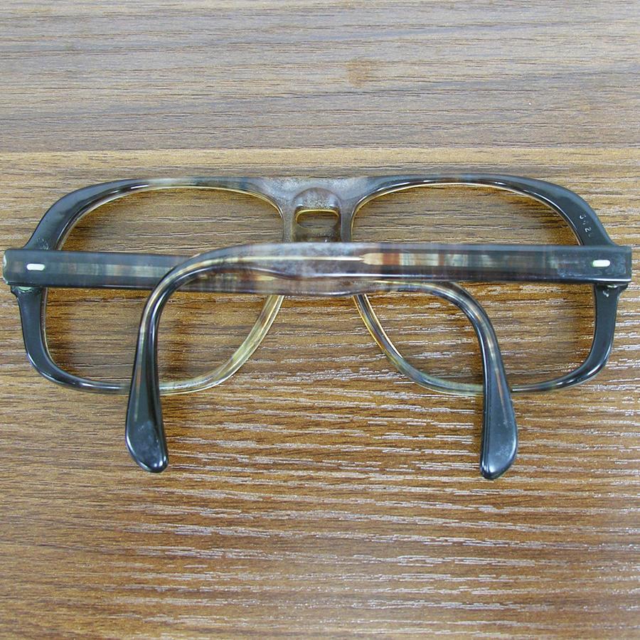 レア!! 1970年代ヴィンテージ ウェリントン スモークブラウン ツーブリッジ フレーム 70sアメリカ製 眼鏡メガネ鼈甲柄 64_画像3
