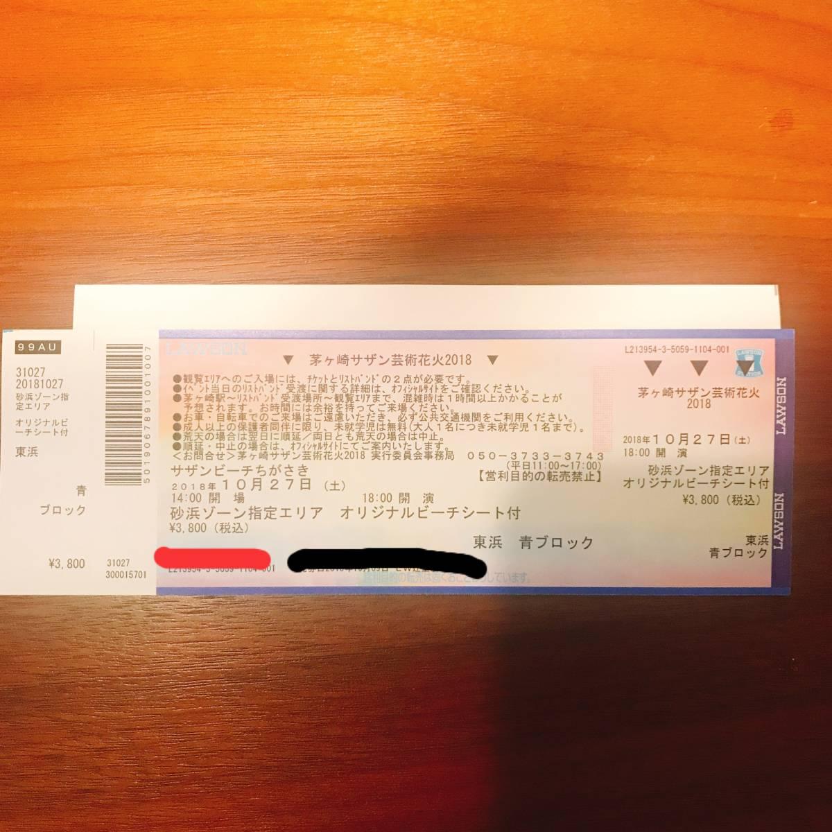 茅ヶ崎サザン芸術花火大会2018 砂浜指定 1枚