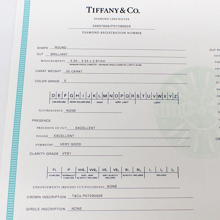 【TIFFANY(ティファニー)】ソリティアダイヤモンドリング 0.35ct Pt950 4.2g サイズ変更無料 【鑑別書・ワランティ・ケース付き】EE0_画像8