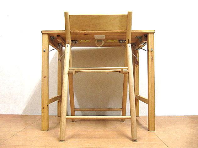 中古品 無印良品 天然木パイン材折りたたみデスク&ブナ材折りたたみチェア 2点セット