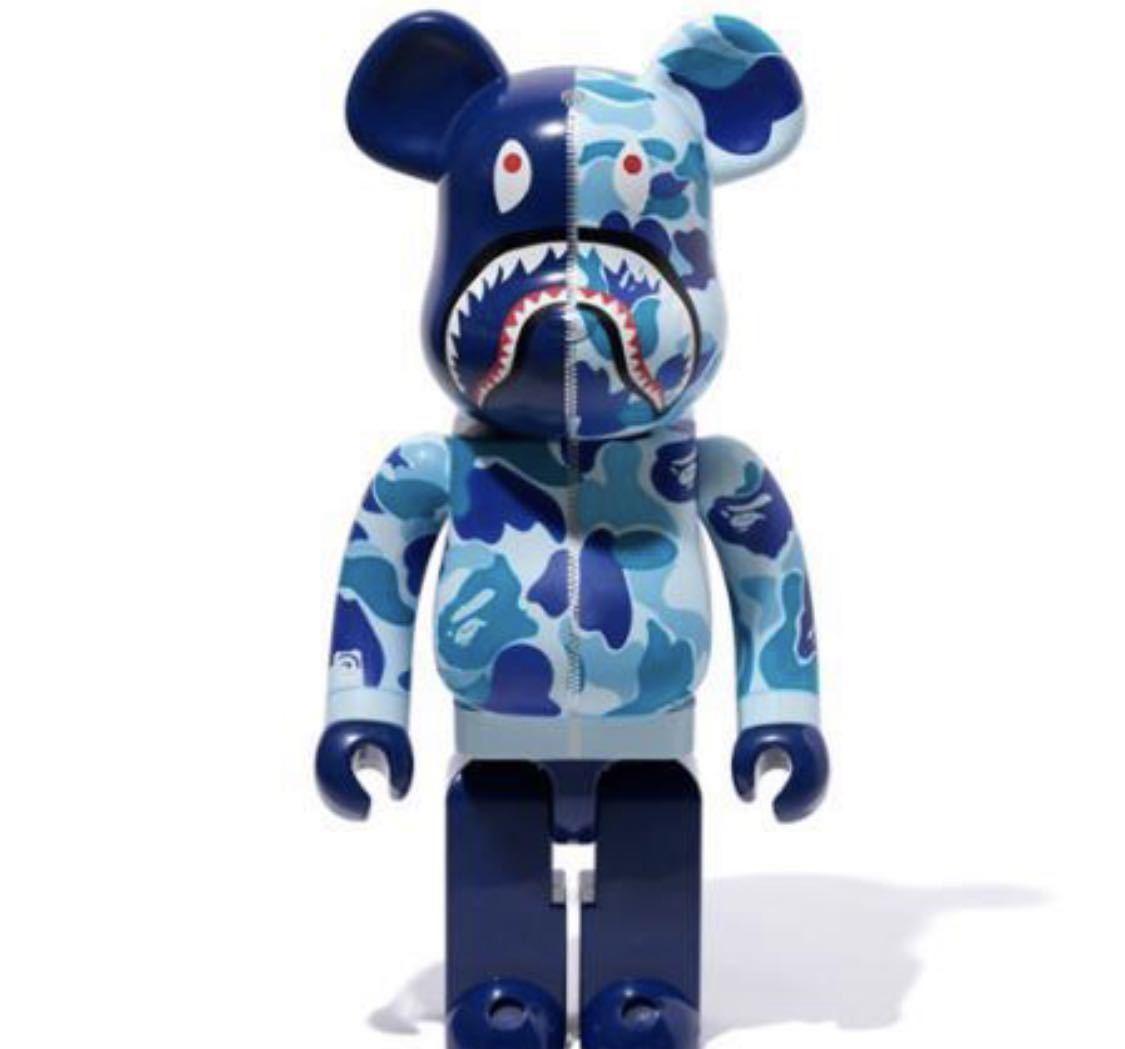 BLUE A BATHING APE BAPE CAMO SHARK BE@RBRICK 1000% MEDICOM TOY メディコムトイ ベアブリック エイプ 国内正規 ブルー 青 カモシャーク
