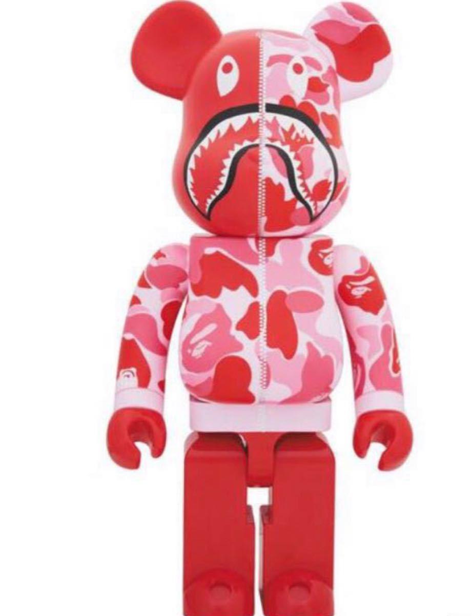 BAPE CAMO SHARK BE@RBRICK 1000% PINK メディコムトイ MEDICOM TOY ベアブリック エイプ A BATHING APE ピンク 赤 カモ シャーク