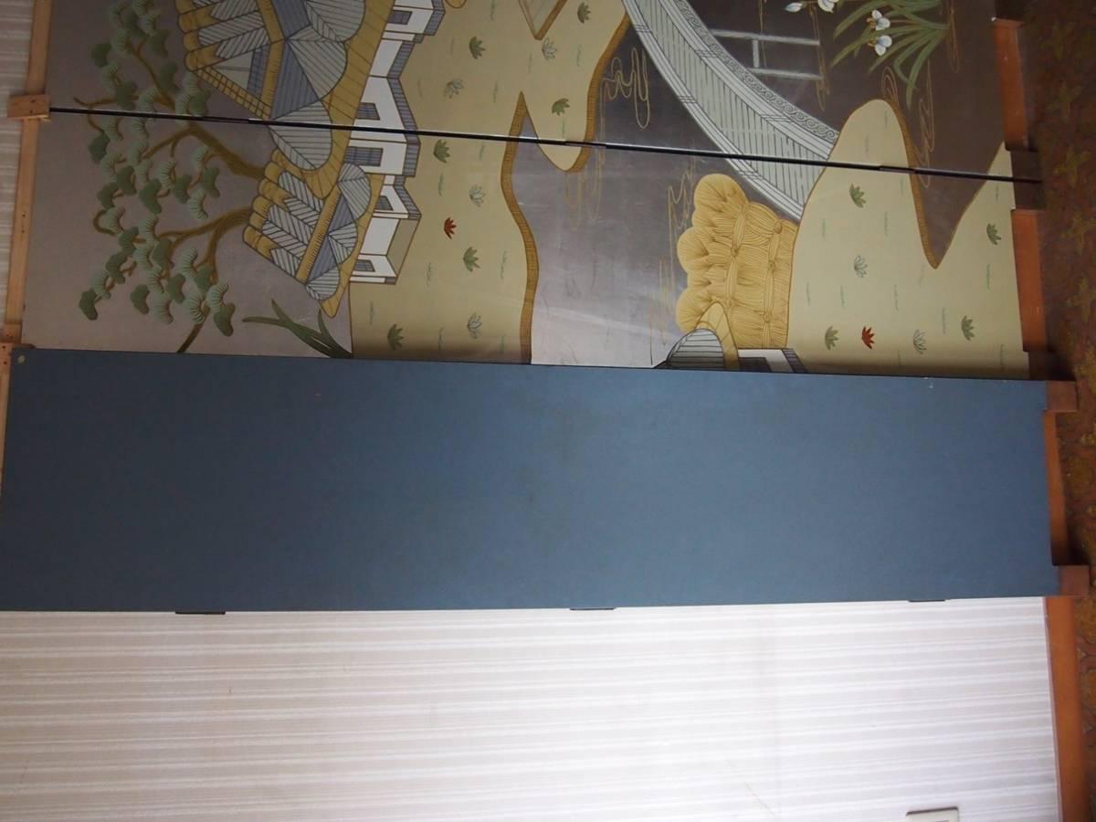 屏風 6曲 6枚 銀箔 山水 風景 1間半 9尺 衝立 松 橋_画像8