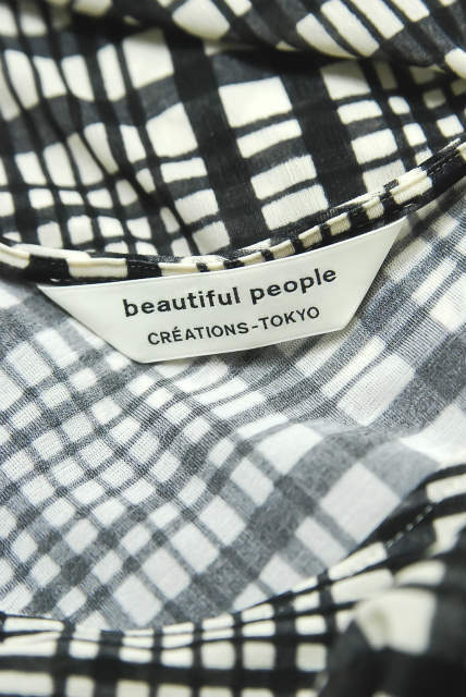 beautiful people 18AW check pt jersey drape top チェックプリントジャージードレープトップ 1845310002 S | lc25383_画像4