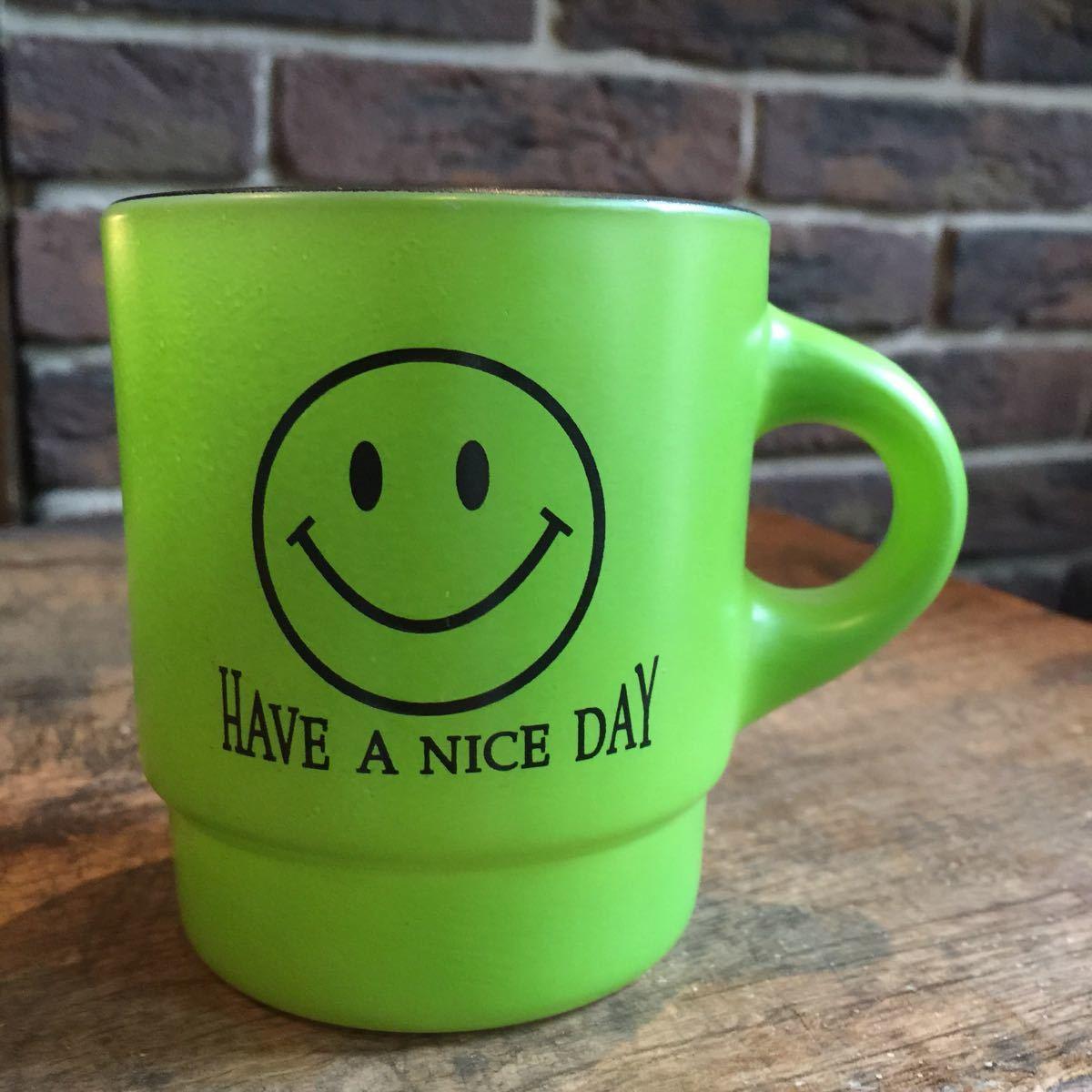 【81】ファイヤーキング スマイル HAVE A NICE DAY スタッキング マグカップ 緑 Fire King k353_画像1