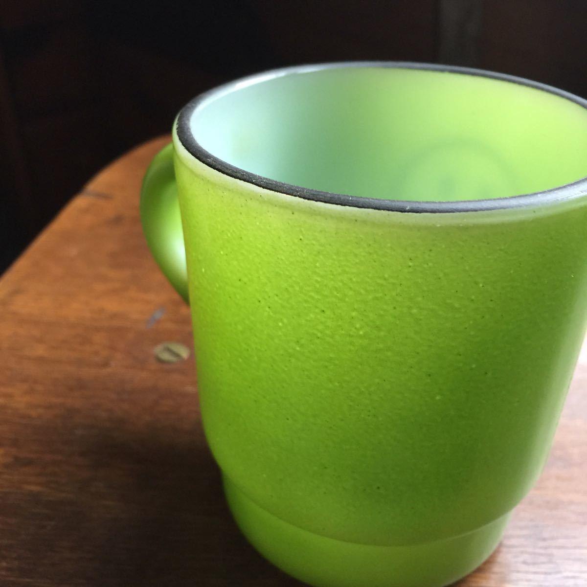 【81】ファイヤーキング スマイル HAVE A NICE DAY スタッキング マグカップ 緑 Fire King k353_画像10