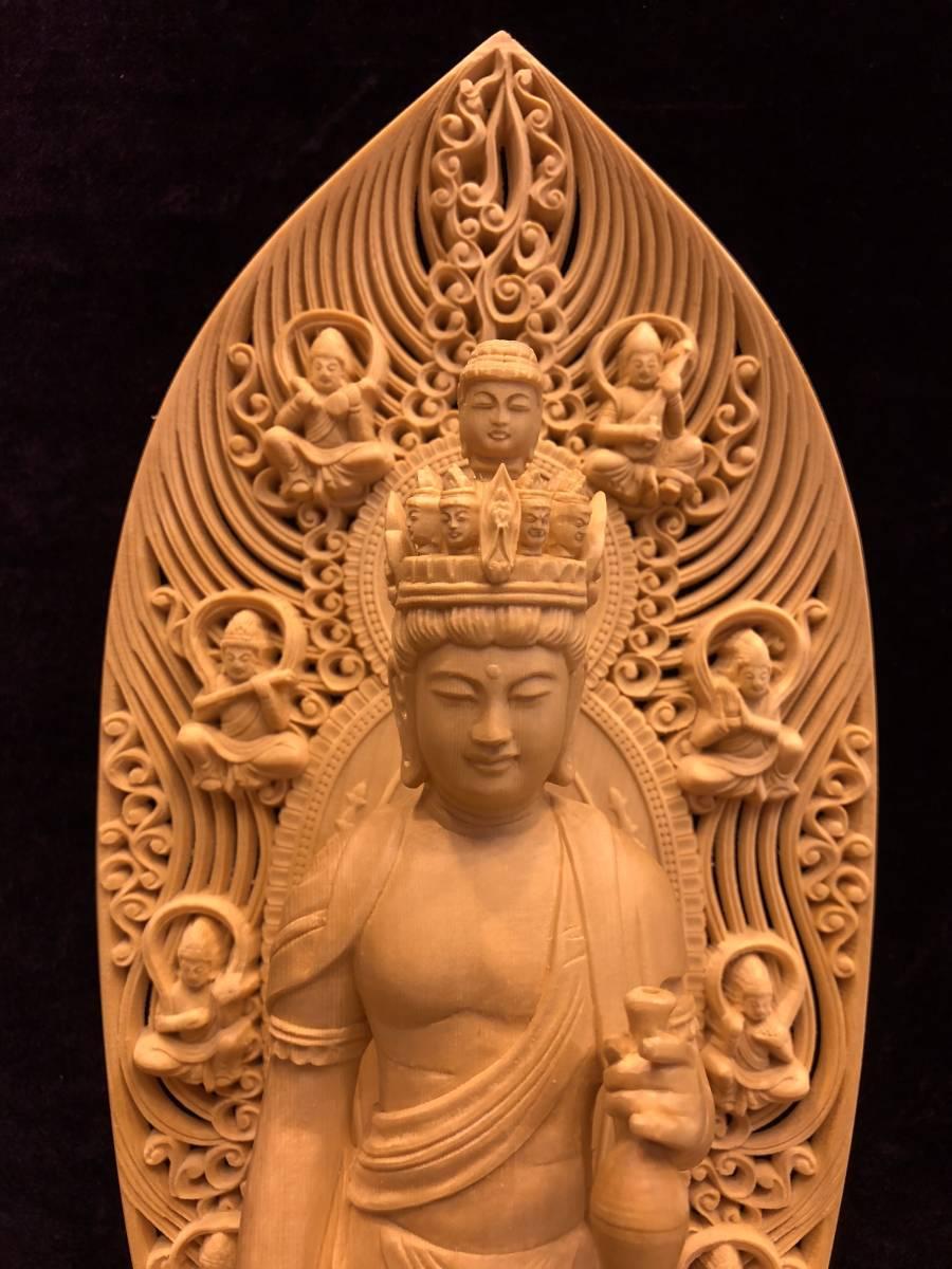 新品 檜材 極上彫 名人作 木彫仏像 仏教美術 十一面観音菩薩立像 高45cm_画像2