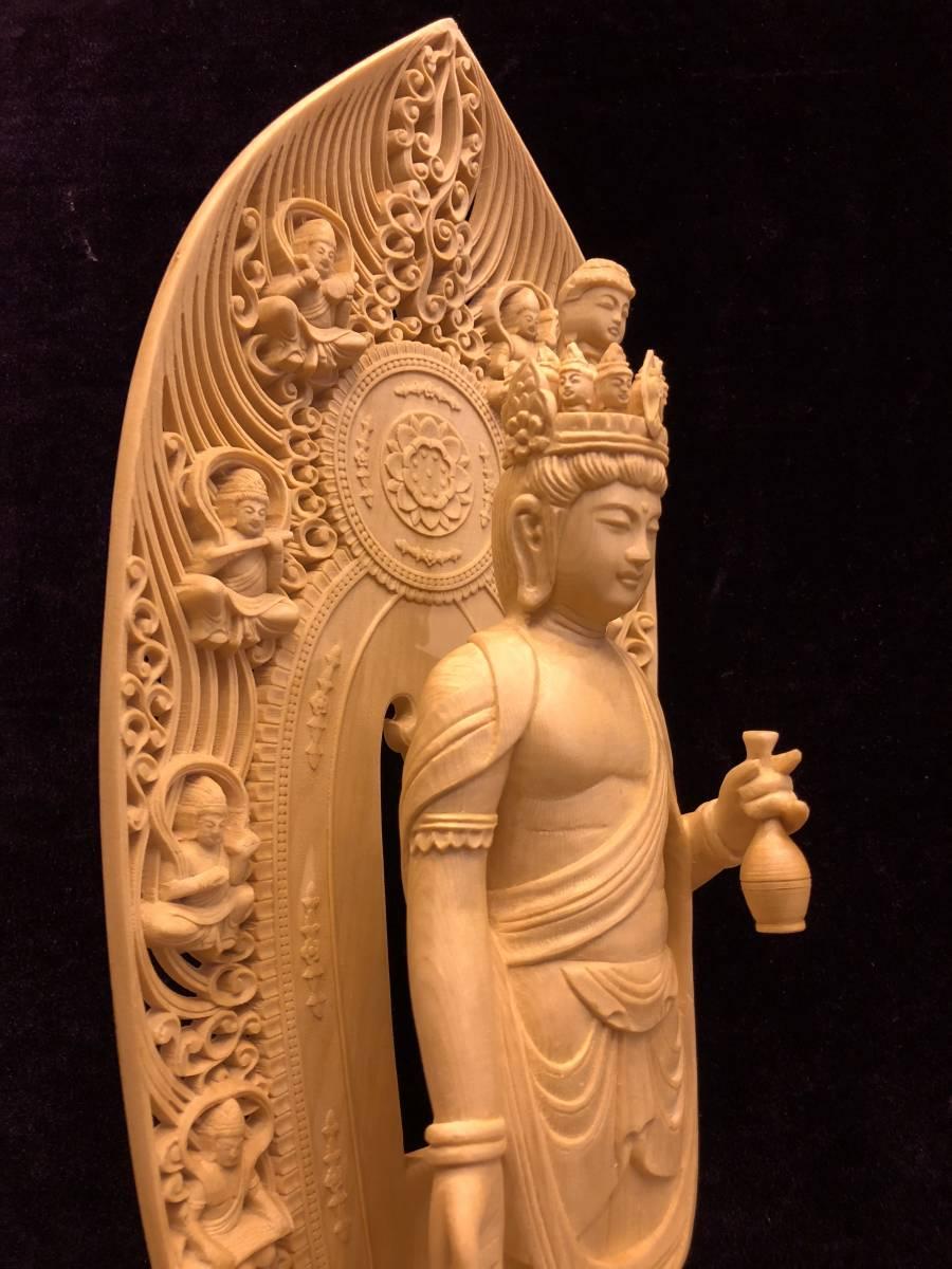 新品 檜材 極上彫 名人作 木彫仏像 仏教美術 十一面観音菩薩立像 高45cm_画像4