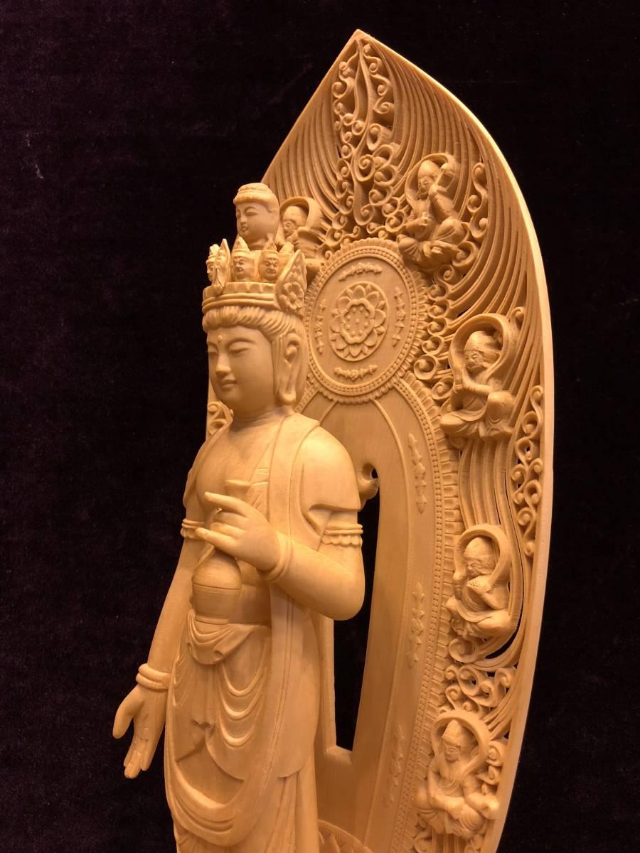 新品 檜材 極上彫 名人作 木彫仏像 仏教美術 十一面観音菩薩立像 高45cm_画像3