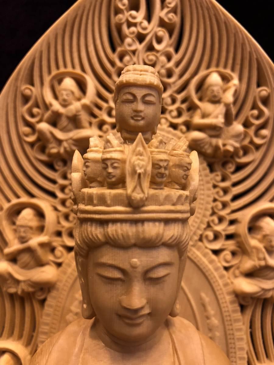 新品 檜材 極上彫 名人作 木彫仏像 仏教美術 十一面観音菩薩立像 高45cm_画像6