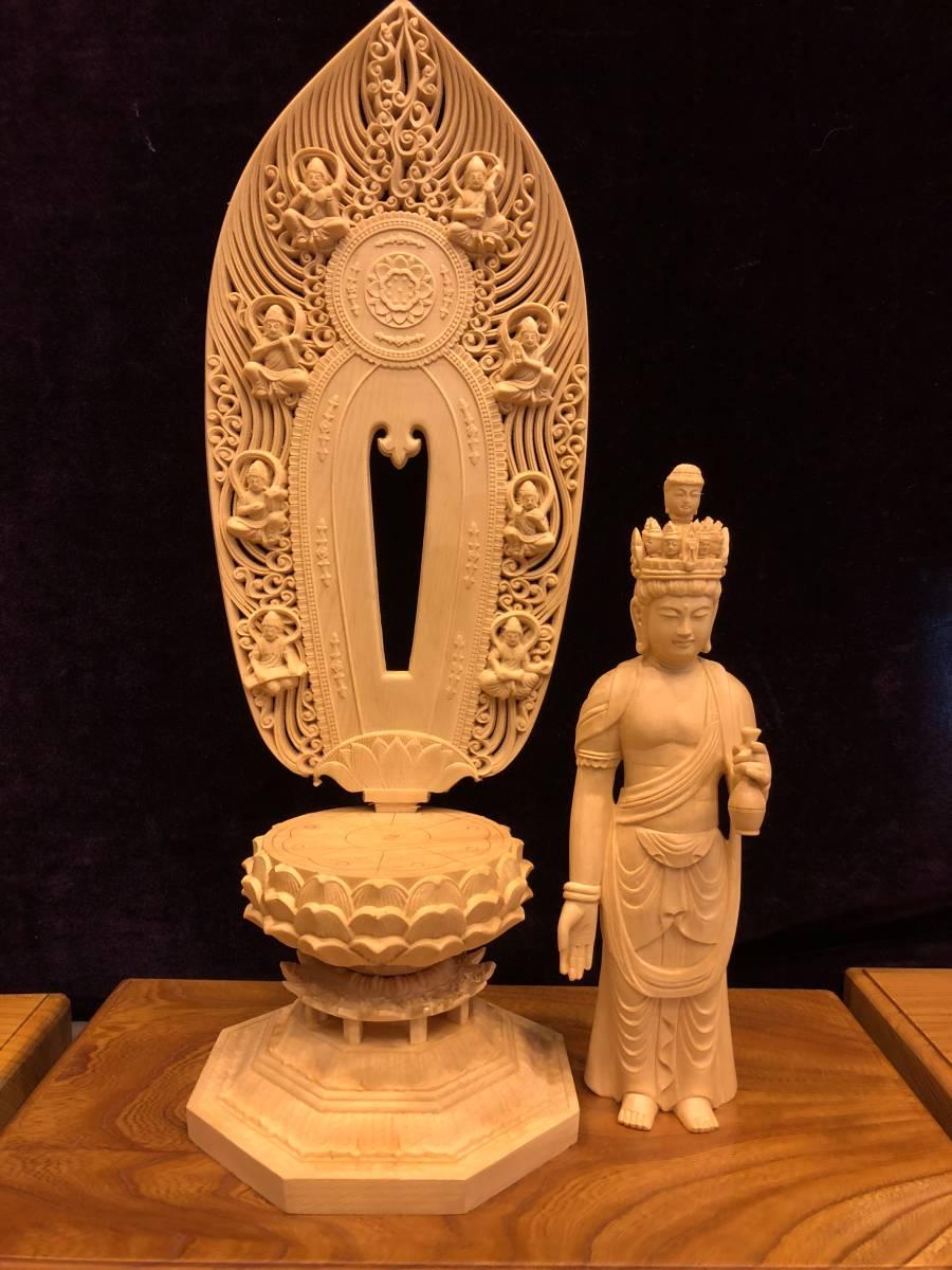 新品 檜材 極上彫 名人作 木彫仏像 仏教美術 十一面観音菩薩立像 高45cm_画像8